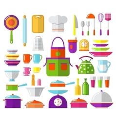 Kitchen flat icons vector