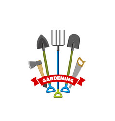 label gardening tools vector image
