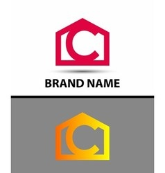 Letter c logo with home icon vector image