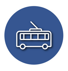 Line icon of trolleybus with shadow eps 10 vector