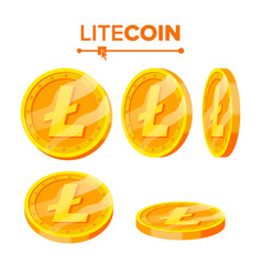 Litecoin gold coins set flip different vector