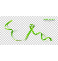 Lymphoma awareness month lime green color ribbon vector