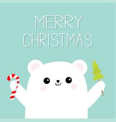Merry christmas polar white bear cub holding vector
