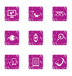 monitoring of bodies icons set grunge style vector image