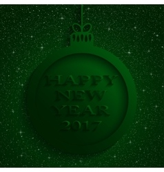 New Year Green Background Christmas Ball 2017 vector