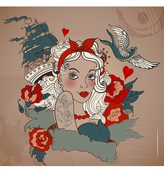 Old-school styled tattoo woman with bird and ship vector