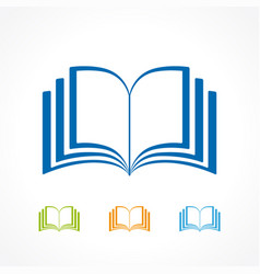 open book icon collection vector image