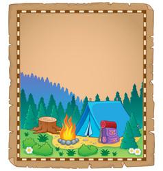 Parchment with campsite theme 1 vector