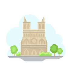 paris street view with cathedral and green trees vector image