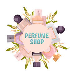 Perfume shop frame background vector