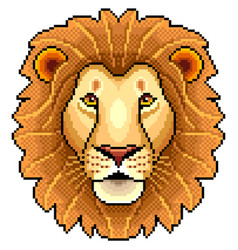 Pixel lion face isolated vector