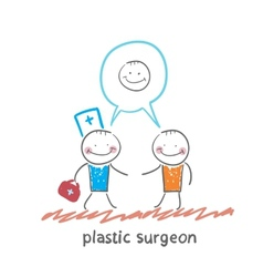 Plastic surgeon says to the patients facial vector