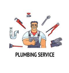 Plumbing service banner poster design vector