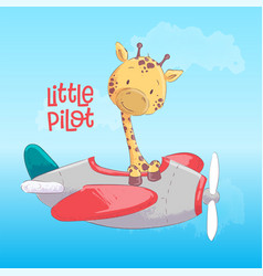 Poster cute giraffe flying on an airplane cartoon vector