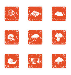 Rainfall icons set grunge style vector