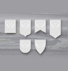 Realistic white pennants various shapes in set vector