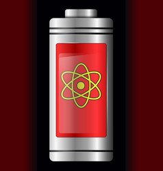 red metal with glass battery atom symbol vector image