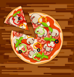 Round pizza with cut piececlassic pizza with vector