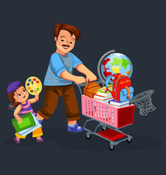 School shopping with dad poster vector