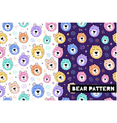 seamless childish pattern with funny bear animals vector image