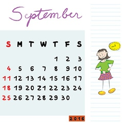 september 2016 kids vector image