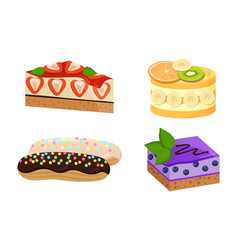 set cute cakes isolated on white background vector image