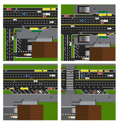 set of roads highways streets with a shop vector image