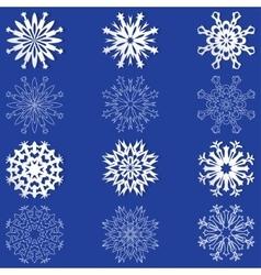 Set of white snowflakes vector