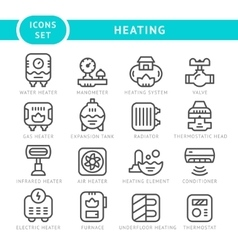 Set outline icons of heating vector image