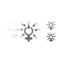 Shredded pixel halftone sperm penetration icon vector