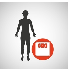silhouette man fitness weight scale vector image