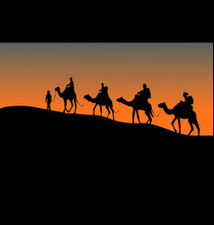 silhouette of four camel riders up hill vector image