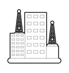 Sketch silhouette image building facade with vector