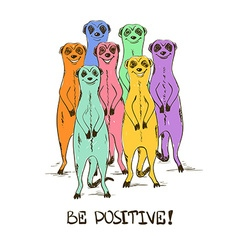 Sketch With Funny Colorful Meerkats vector image