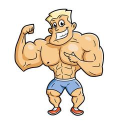 smiling bodybuilder posing vector image
