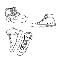 Sneakers active shoes collection isolated vector