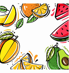 Square background with different tropical fruits vector