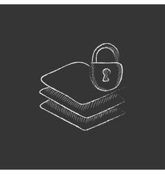 Stack of papers with lock Drawn in chalk icon vector