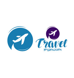Travel logo or label journey tour voyage symbol vector