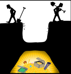 Treasure hunters quit cartoon vector