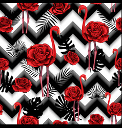 Trendy zigzag lines print embroidered red roses vector