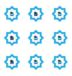 types icons colored set with file html file image vector image