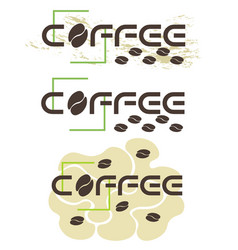 typographic coffee logo in three versions with vector image