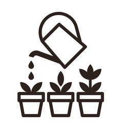 Watering can and flowers in pots irrigation symbol vector