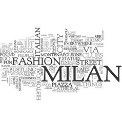 Where to go for fun in milan text word cloud vector