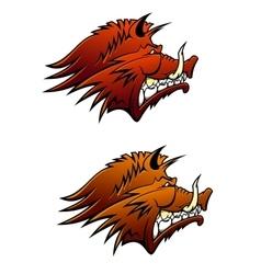 Wild boar mascot with big tusks vector