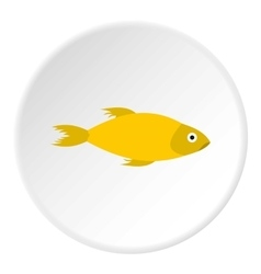 Yellow marine fish icon flat style vector