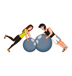 Young athletic couple practicing pilates vector