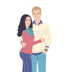 Young couple in love flat vector