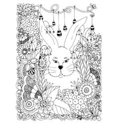 Zen Tangle rabbit in the vector image